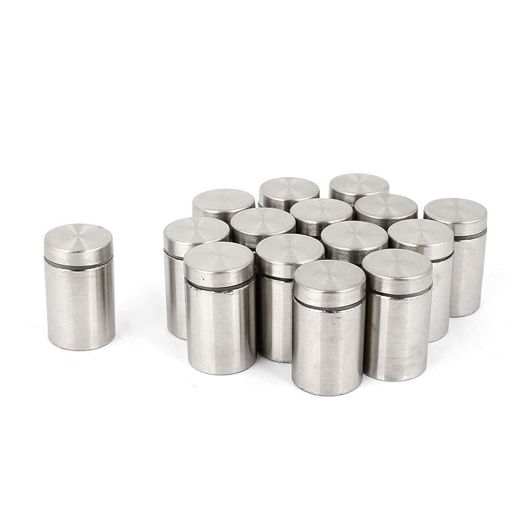 Saim 15 Pcs 19mm x 30mm Wall Mount Hardware Glass Standoff Nail Silver Tone