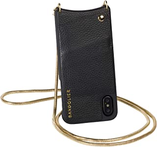 Bandolier [Belinda] Crossbody Phone Case and Wallet - Compatible with iPhone 8 Plus, 7 Plus, 6 Plus, 6s Plus Only - Black Pebble Leather with Gold Detail