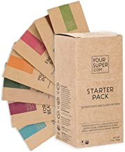 Superfoods & Plant Protein Starter Pack by Your Super | 7 Different Flavor & Benefit Options | Powder Blends with Protein, Vitamins, Antioxidants, Caffeine & More | Non-GMO, Organic Ingredients