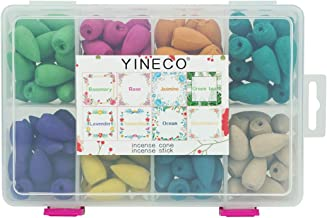 YINECO 140PCS 8 Mixed Natural Scents Backflow Incense Cone Gift Package Ideal for Spa..