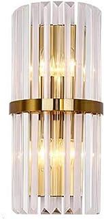 MZStech Appliques murales en cristal E14Lampe, luminaires muraux en cristal modernes (Base dorée)