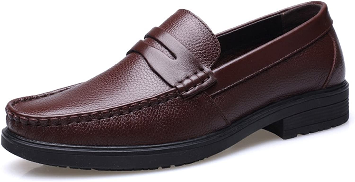 Z.L.F Men's Oxford shoes Genuine Cowhide Fashion Leather shoes Slip-on Flat Soft Sole Lined Loafer