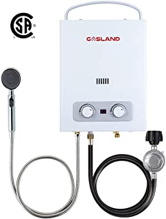 Tankless Water Heater, Gasland Outdoors AS150 1.5GPM 6L Portable Gas Water Heater, Propane Water Heater for RV Camping, Low Oxygen Flame Failure and Overheating Safety Protection, White