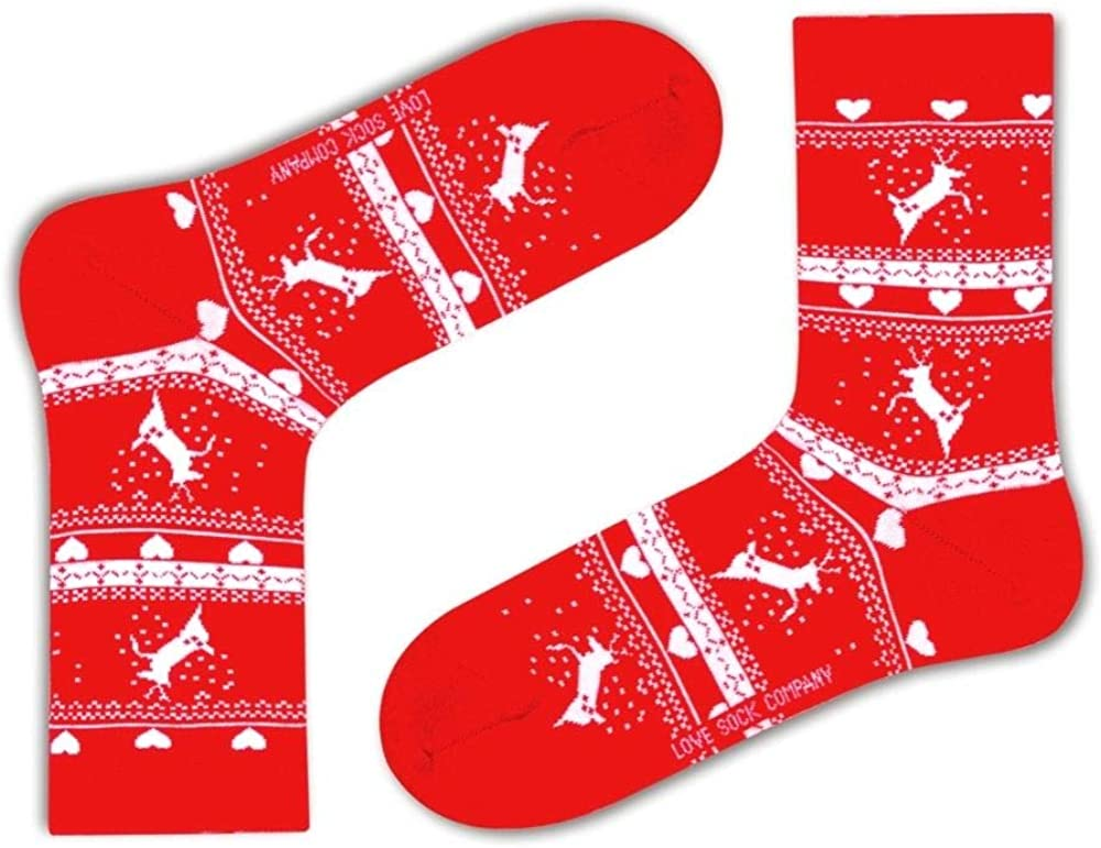 Love Sock Company Colorful Fun Christmas Patterned Funky Crew Red Dress socks For Women - Reindeer