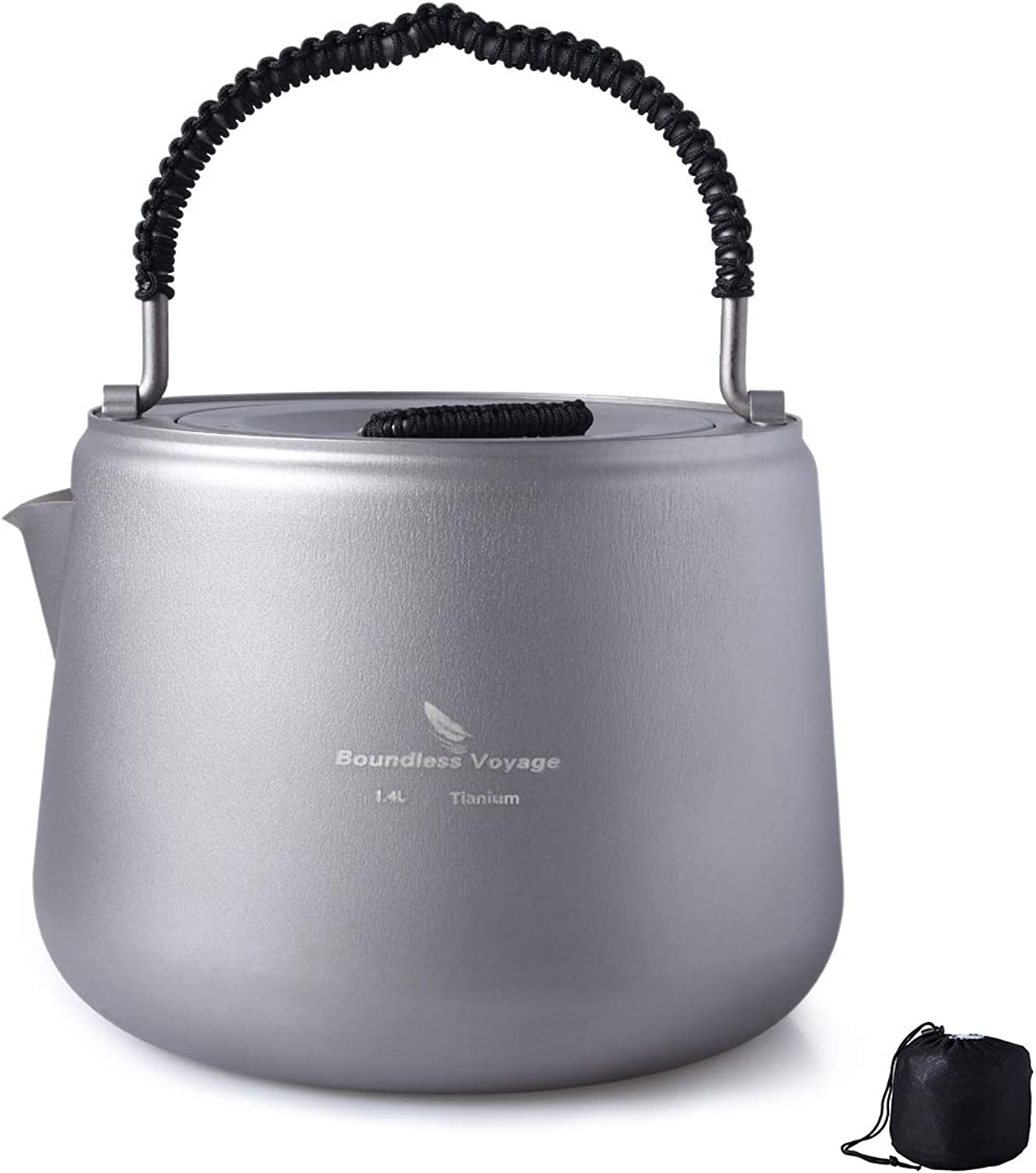 Boundless Voyage Titanium Kettle, 1.4L Lightweight Coffee Tea Water Kettle with Filter and Anti-scalding Handle Lid Suitable Induction Cooker for Outdoor Camping Hiking Climbing Ti1584B