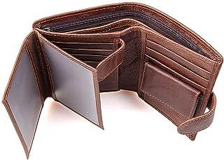 Genuine Leather Trifold Wallet RFID Blocking Anti Scan Zip (Coffee)