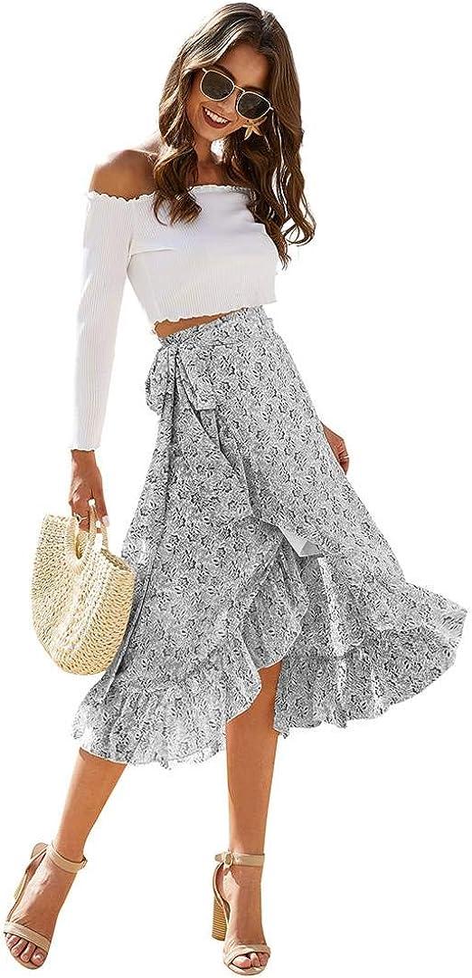 Higohome Women's Floral Printed A Line Asymmetrical Ruffle Tie Waist Chiffon Wrap Long Swing Boho Casual Skirts