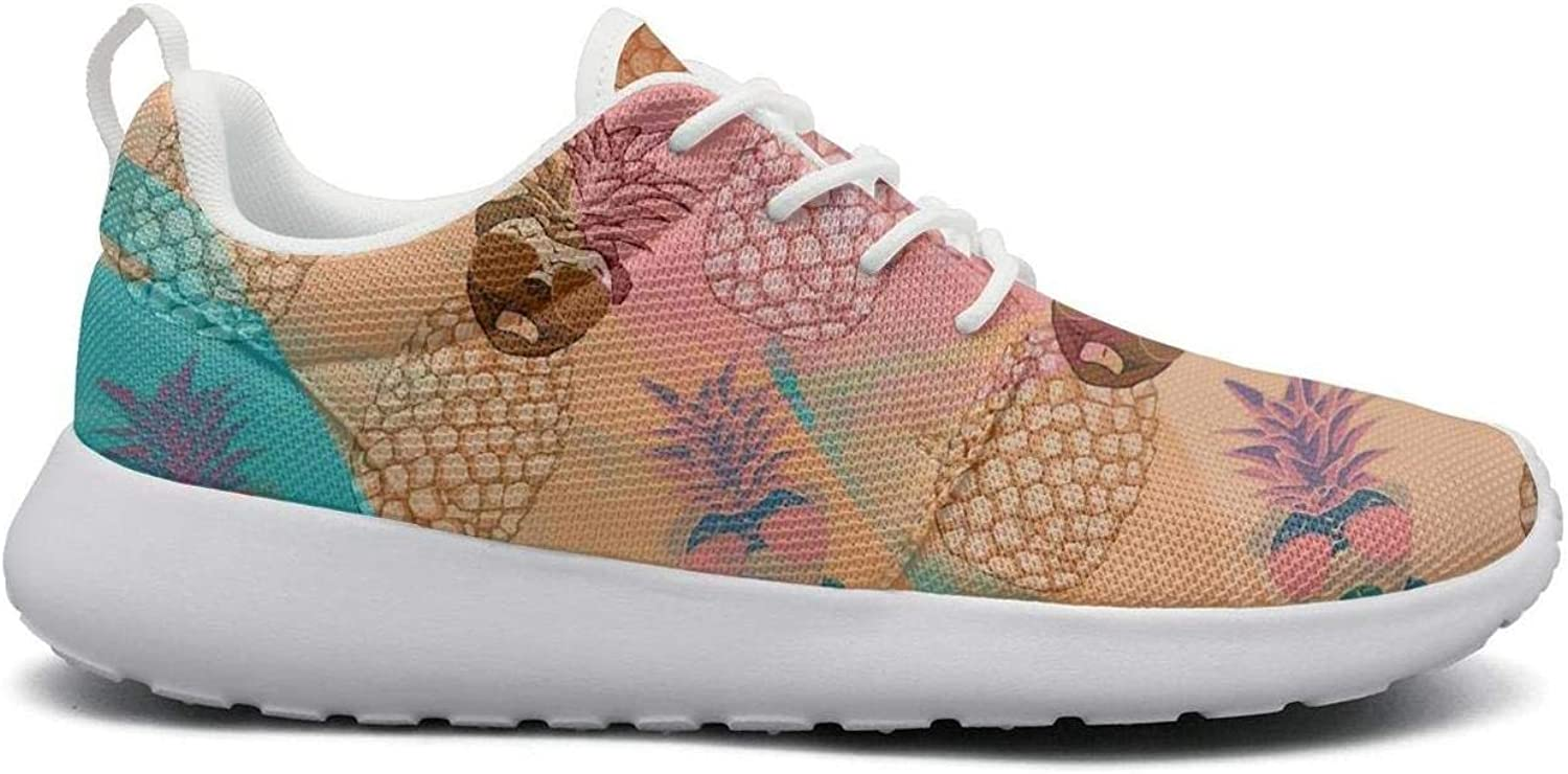 FEWW11 Women Cute Lightweight shoes Sneakers Pug Pineapple and Sunglasses Rainbow Background Breathable Running