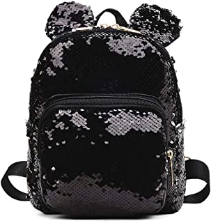 chinatera Sequin Backpack, Glittering Sequins Mini Backpack with Cute Ears Shoulder Bag Schoolbag Purse Satchel for Women&Kids