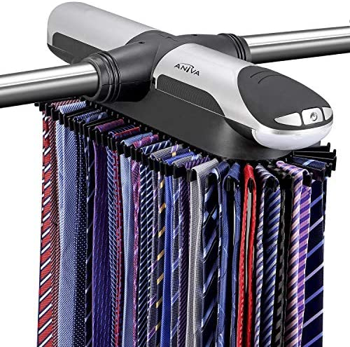 Aniva Motorized Tie Rack Best Closet Organizer with LED Lights Includes J Hooks for Wired Shelving product image