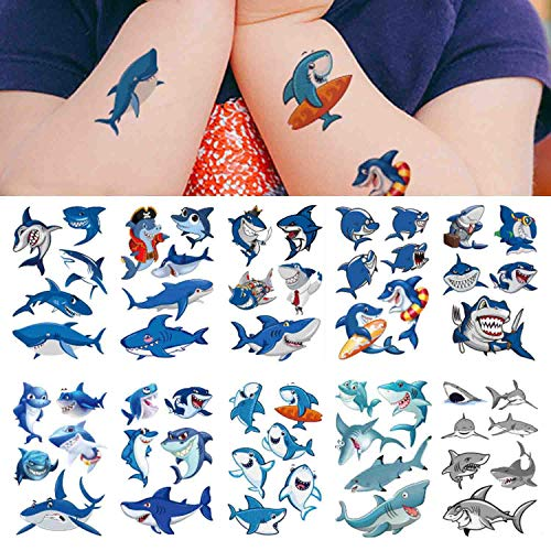 Shark Temporary Tattoos(54pcs),COKOHAPPY Shark Tattoo Body Stickers Costume Accessories for Ocean Sea Shark Themed Baby Shower Birthday Party Favor Supplies Decor for Boy Girls Kids Party Bag Filler