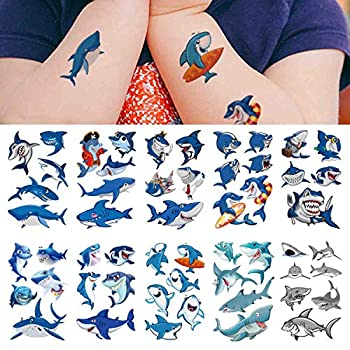 Shark Temporary Tattoos 54pcs ,COKOHAPPY Shark Tattoo Body Stickers Costume Accessories for Ocean Sea Shark Themed Baby Shower Birthday Party Favor Supplies Decor for Boy Girls Kids Party Bag Filler
