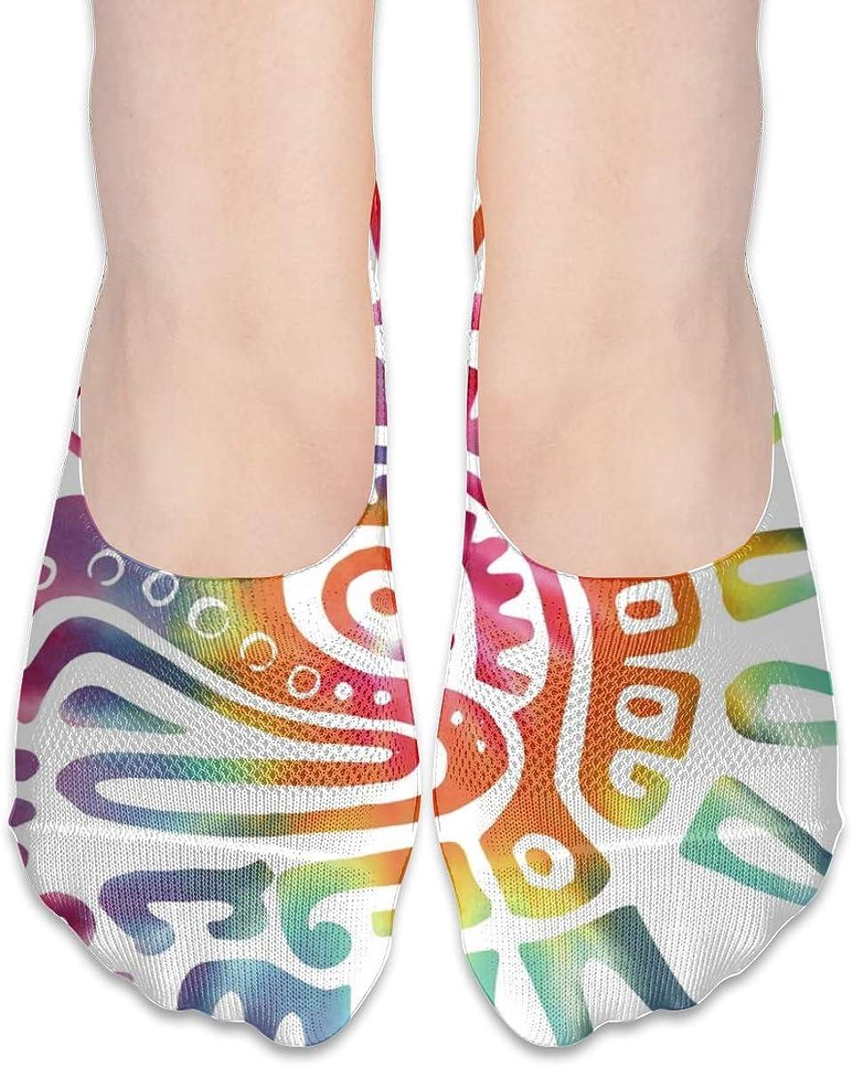Personalized No Show Socks With TIE DYE Aztec Bird Print For Women Men