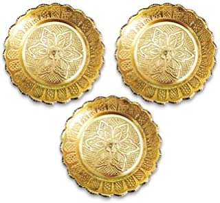 Shubhkart Nakshi Plate (Pack Of 3), Brass Handmade Indian Plate for Puja