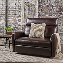Christopher Knight Home Halima Leather 2-Seater Recliner, Brown