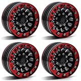 MOHERO 1/10 1.9'' Alloy Beadlock Wheel Rims for RC Cralwer Axial SCX10 CC01 D90 Pack of 4 (Red+Black)