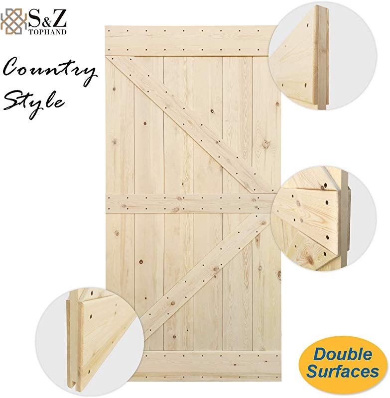 S Z TOPHAND 42 In X 84 In Barn Door 24 28 30 32 36 38 42in Unfinished British Brace Knotty Pine Barn Door Traditional Country Style Double Surfaces A Simple Assembly Is Required 42 Unfinished
