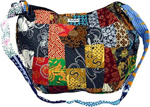 GURU SHOP Patchworktasche Bali, Herren/Damen, Mehrfarbig, Baumwolle, Size:One Size, 35x40x7 cm, Alternative Umhängetasche, Handtasche aus Stoff