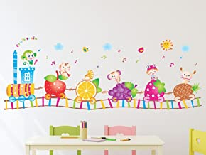 Amazon Brand - Solimo Wall Sticker for Kids' Room (Fruit Train, ideal size on wall , 140 cm X 52 cm),Multicolour