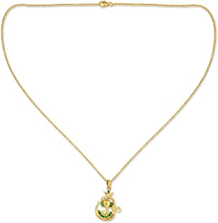 Emerald .925, 18k Yellow Gold Plated Silver Pendant Necklace, 18.5