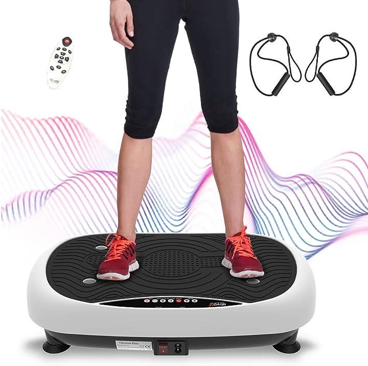 Pedana vibrante fitness con placca vibrante ultrapiatta con display lcd,telecomando,fasce di allenamento B088M3JVSQ