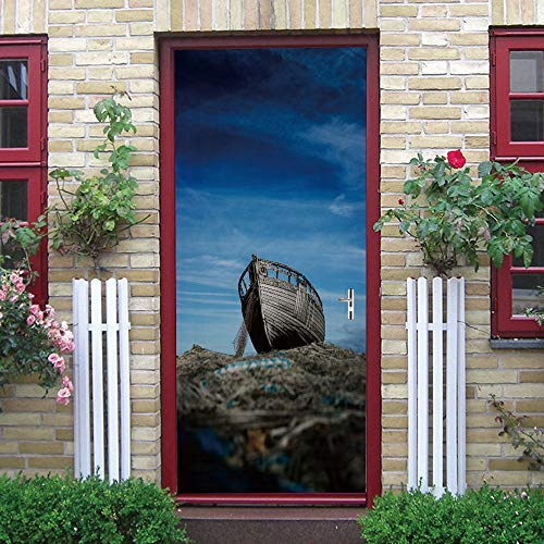Door stickers and wall stickers, self-adhesive, waterproof and removable, home decoration wallpaper mural, Broken fishing boat