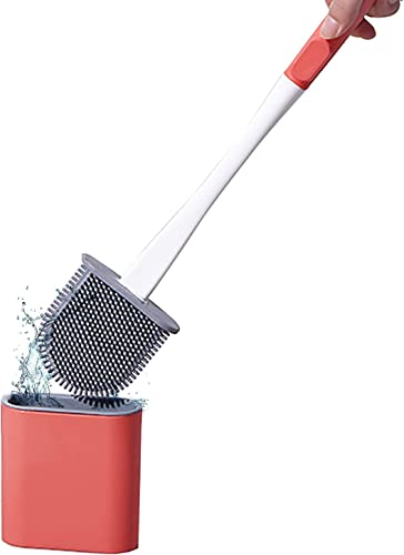 high quality Toilet online Brush 2021 Silicone Toilet Brush and Holder for Bathroom Cleaning Easy Wall-Mounted Silicone Toilet Brush Set Durable Soft Silicone Bristles and Non-Slip Handle (Red) online