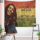 SESERRYY Bob Marley Wandteppich Wandbehang Wandkunst Dekor Raumteiler Deckendekor Fenstervorhänge Wohnheim Dekor Wohnzimmer Schlafzimmer, 59x78inch 150x200cm