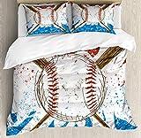 HUNKKY - Juego de funda de edredón deportiva, diseño de bates y pelota de béisbol sobre fondo de color grunge, tamaño king, color marrón y azul