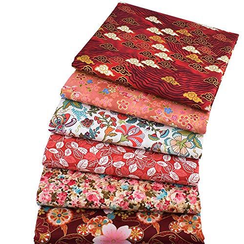Paquetes de tela de color rojo bronce, con diseño floral, tejido precortado, 46 x 56 cm (estilo retro asiático)