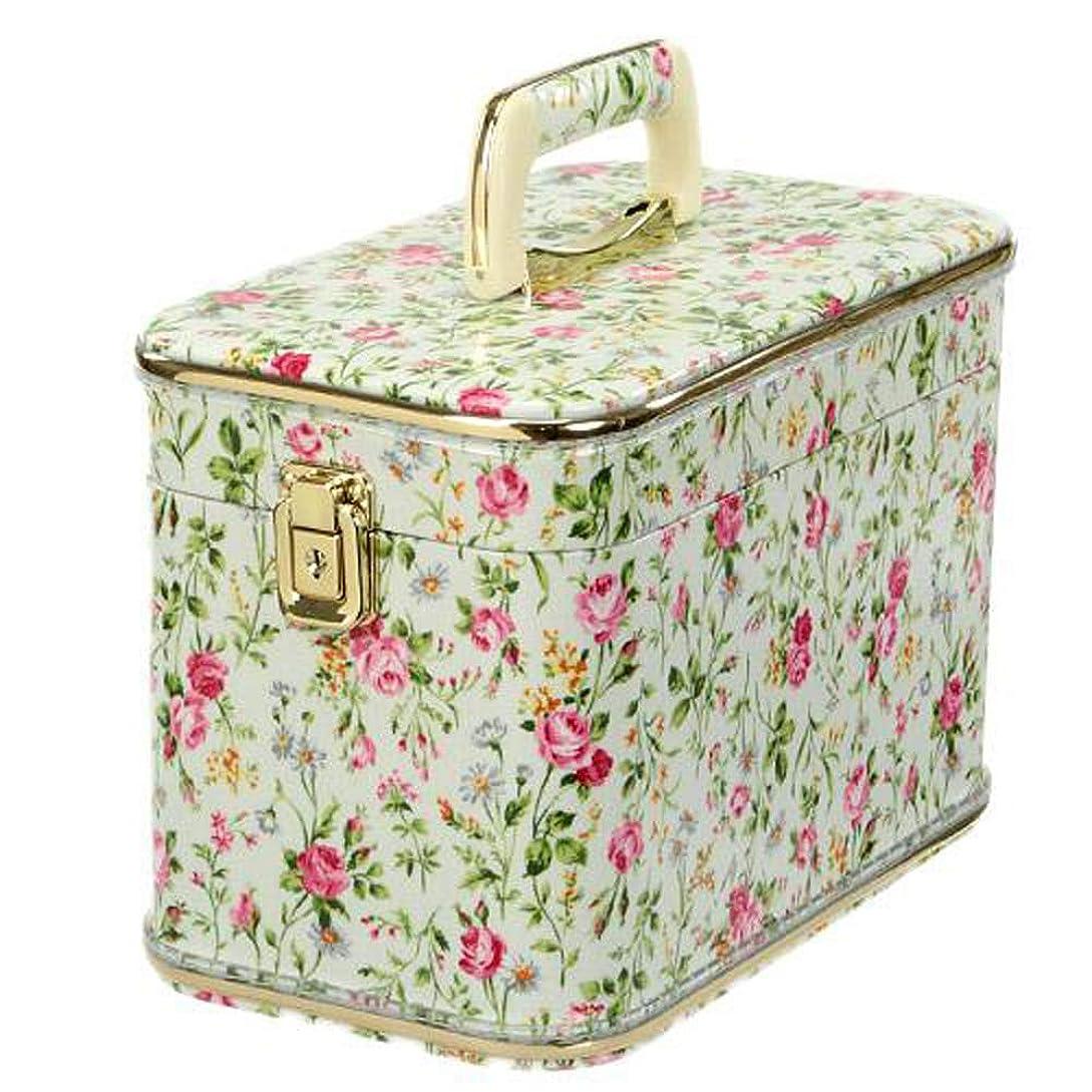 考える目立つ聖なる日本製 メイクボックス(コスメボックス)パンセアラローズ 30cm ハーブ&ローズ柄 グリーン ホワイト トレンケース(鍵付き/コスメボックス)