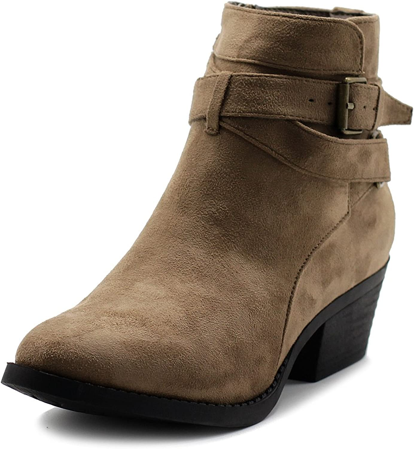 Ollio Women's shoes Faux Suede Buckle Straps Stacked Heel Ankle Boots