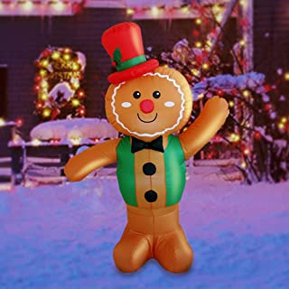 Sunlit 5ft Lighted Airblown Gingerbread Man Inflatable Yard Decoration with Blower and Adaptor for Festive Indoor Porch Outdoor Décor