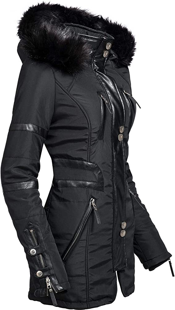 Navahoo,giacca da donna invernale , con applicazioni in finta pelle Moon