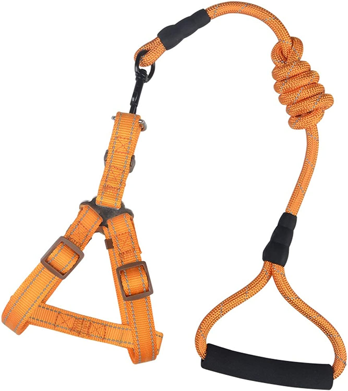 LZRZBH Pet Supplies Dog Leash Dog Chain Small Dog Reflective Chest Back Suit Vest Straps Hyena Rope, Rope Length  {S  120cm},{ M, L, XL  115cm} (color   orange, Size   XL)