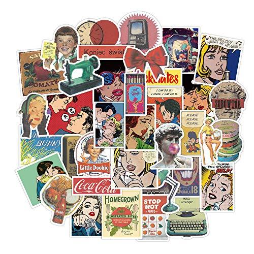 SHIHE European and American Retro Cartoon Doodle Sticker Suitcase Laptop Guitar PVC Waterproof Decorative Sticker 50 Pcs