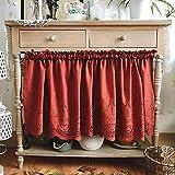 kitchen curtains tende oscuranti termiche tenda corta per finestra pastorale francese tende cucina finestra tende cucina country ricamo tenda doccia cotone(150×58cm,200×58cm)