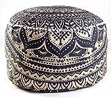 Indio Mandala tapiz bohemio Pouf puf infantil, diseño de hecho a mano Otomano, puf infantil piso cojín de algodón cubierta de asiento salón Decor Boho decorativa redonda pie taburete (solo funda)
