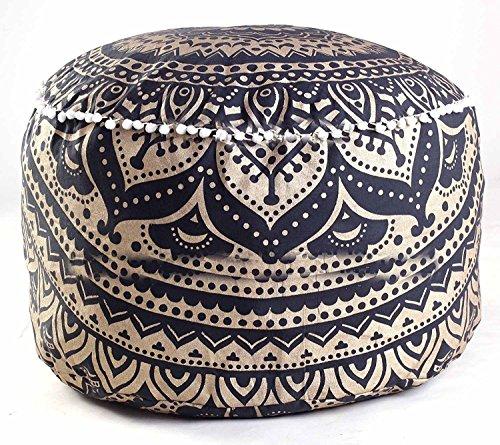 Tapiz de mandala indio bohemio para puf otomano hecho a mano, funda de cojín