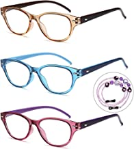 VVDQELLA 2.o Reading Glasses Women 3 Pair Colors with Strap Safty AC Lens Clear 2 Power Reader Eyeglasses Fashionable (Light Blue + Purple + Brown)
