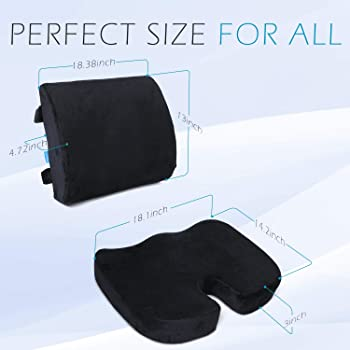 Coccyx Orthopedic Seat Cushion and Lumbar Support Pillow for Office Chair Memory Foam Car Seat Cushion with Washable ...