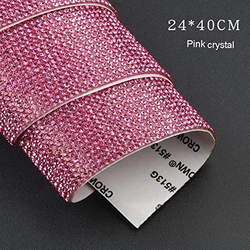 Diamontes For Craft-DIY Car Decoration Sticker Bling Crystal Rhinestone Car Stickers for License Plate Frame Emblem Door Handle Indoor Dashboard,Pink