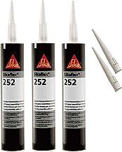 Sika Flex-252 Zelfklevende constructielijm, 300 ml, zwart, set van 3 met 5 spuitmonden