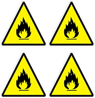 dealzEpic - Flammable Symbol Sticker Safety Warning Sign - Self Adhesive Peel and Stick Vinyl Decal - 3.94x3.94 inches | Pack of 4 Pcs