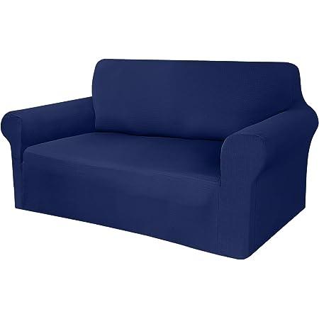 Granbest - Housse de canapé Stretch 2 Places - Housse de canapé épaisse de qualité supérieure - Housse de canapé en Jacquard gaufré - Antidérapante (2 Places, Bleu foncé)