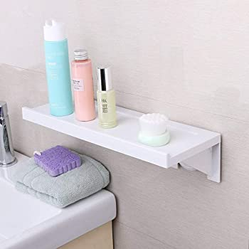 収納棚 洗面所ラック バスルーム 収納 ホルダー 吸盤 粘着式 浴室用ラック ホワイト約38.5×14×9cm 壁 棚 洗面所 収納ラック お風呂ラック シャンプーラック