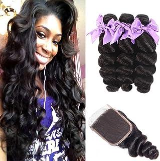 Brazilian 8A Loose Wave 3 Bundles with Closure Virgin Human Hair Bundles with 4x4 Free Part Closure Unprocessed Virgin Hum...