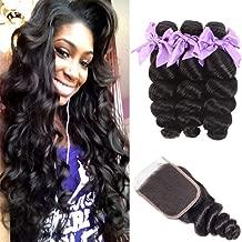 Brazilian 8A Loose Wave 3 Bundles with Closure Virgin Human Hair Bundles with 4x4 Free Part Closure Unprocessed Virgin Human Hair Natural Black(16 18 20+14)