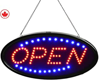 "OPEN SIGN by JAM Premium Products 19""x10"" LED OPEN Sign Electronic Billboard Bright Advertising Board Flashing Window Display Sign with Motion - ""OPEN"" (Red/Blue) - Two Modes"