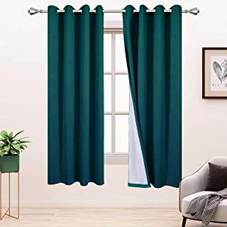 BONZER 100% Blackout Curtains for Bedroom - Premium Thick Velvet Curtains 45 Inches Long Thermal Insulated Energy Saving, ...